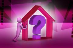 homme 3d avec l'entreprise immobilière avec le point d'interrogation Image stock