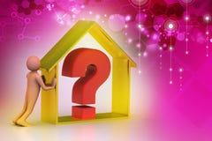 homme 3d avec l'entreprise immobilière avec le point d'interrogation Image libre de droits