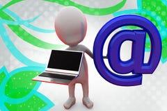 homme 3d avec l'illustration d'ordinateur portable Photographie stock libre de droits