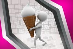 homme 3d avec l'illustration de cornet de crème glacée Photos stock