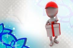 homme 3d avec l'illustration de la livraison de cadeau Images stock