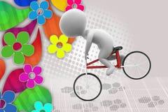 homme 3d avec l'illustration de vélo de cascade Photographie stock
