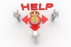 homme 3d avec la cloche de service et l'illustration d'aide Photo libre de droits