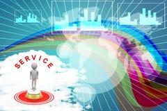 homme 3d avec la cloche de service et l'illustration de papier Image libre de droits