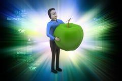 homme 3d avec la pomme Photo stock