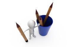 homme 3d avec le concept de support de stylo Image stock