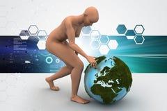 homme 3d avec le globe Image libre de droits