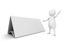 homme 3d avec le panneau blanc de bureau vide pour l'information des textes Photographie stock
