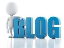 homme 3d avec le signe de blog Concept d'actualités sur le fond blanc Image libre de droits