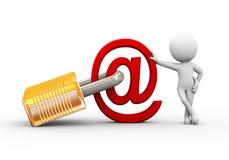 homme 3d avec le signe verrouillé d'email Photographie stock libre de droits