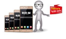 homme 3D avec le vecteur de téléphone portable d'Android Image stock
