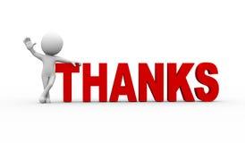 homme 3d avec tous nos remerciements de mot Photo libre de droits