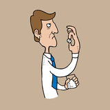 Homme d'Axiety prenant la pilule Photos stock