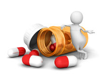 Homme 3d blanc avec les pilules médicales et la bouteille orange Photo libre de droits