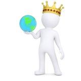 homme 3d blanc avec une couronne tenant la terre illustration stock