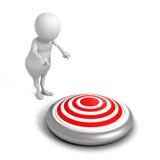 Homme 3d blanc indiquant la main la cible Concept de gain de succès illustration stock
