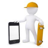 homme 3d blanc tenant la planche à roulettes et le smartphone Photographie stock