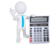 homme 3d blanc tenant une calculatrice Images libres de droits