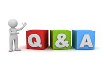 homme 3d concept de questions et réponses tenant et présent de Q et d'A mot au-dessus de blanc Image stock