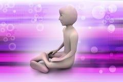 homme 3d dans la méditation Photo libre de droits