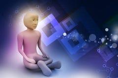 homme 3d dans la méditation Photographie stock libre de droits