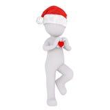 homme 3d dans le chapeau de Santa avec le coeur de valentines Image libre de droits