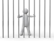 homme 3d derrière des barres Image libre de droits