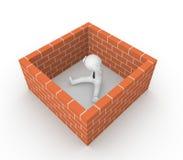 homme 3d entouré par le mur de briques Photos libres de droits