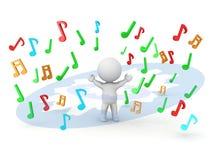 homme 3D et explosion des notes musicales Photo libre de droits