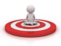 homme 3d faisant la méditation sur la cible rouge au-dessus du fond blanc avec la réflexion illustration de vecteur
