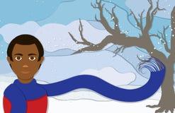 Homme d'hiver dans la vue de portrait illustration stock
