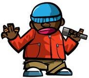 Homme d'houblon de gratte-cul de dessin animé avec le microphone. Images stock