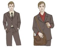Homme d'illustration de mode de vecteur avec la serviette et le café dans le costume dans des couleurs brunes et grises d'isolem illustration de vecteur