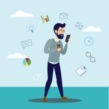 Homme d'image de vecteur avec le téléphone portable illustration stock