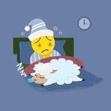 Homme d'insomnie avec des moutons de sommeil Photo stock