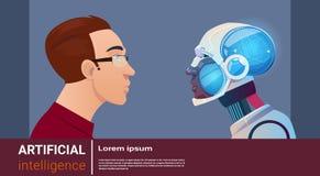 Homme d'intelligence artificielle avec le robot moderne Brain Technology Photos stock