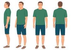 homme d'isolement, avant, dos et vue de côté illustration stock