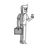 Homme d'isolement avec la conception de café Photos stock