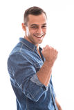 Homme d'isolement bel de sourire réussi de métis. photo stock