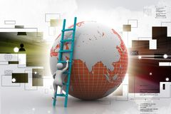 homme 3d montant le globe avec l'aide de l'échelle Image stock