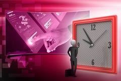 homme 3d observant l'horloge Image stock