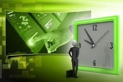 homme 3d observant l'horloge Photographie stock