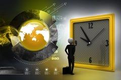 homme 3d observant l'horloge Photo libre de droits