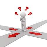 homme 3d pensant et confondant avec quatre flèches rouges montrant quatre directions différentes se demandant quelle manière d'al Illustration Stock