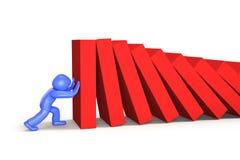 homme 3d poussant et arrêtant des dominos tombant, illustration 3D illustration libre de droits