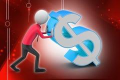 homme 3d poussant le symbole dollar Photographie stock libre de droits