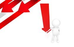 homme 3d présent le concept de haut en bas en baisse de flèche illustration libre de droits
