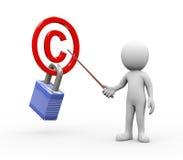 homme 3d présent expliquant le concept protégé de copyright Image stock