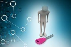 homme 3d regardant la clé Image stock