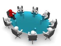 homme 3D s'asseyant à une table ronde et ayant la réunion d'affaires Image stock